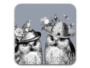 Sunday Best Owls Coaster Grey