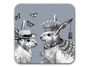 Sunday Best Rabbits Coaster Grey