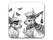 Sunday Best Rabbits Coaster White
