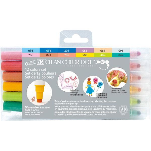 Zig Clean Color DOT Pen Set (12)