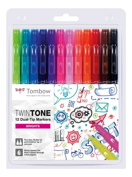 Brights | Tombow twintone dual-tip markers (12)
